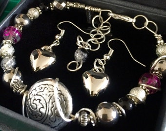 Silver & Black Hematite beading  beautiful Hand painted glass beads in Baby Pink, Silver Hand Wire Wrapped. Made to Order.