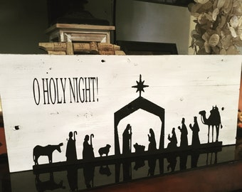 O Holy Night Wooden Sign