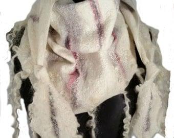 Felted scarf -Felted collar-Real fur scarf-Wool scarf=-Felted wool scarf-Felt Fur