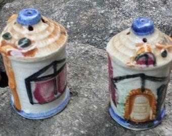 Vintage Ceramic Salt & Pepper Shakers - Thatched Houses - Japan