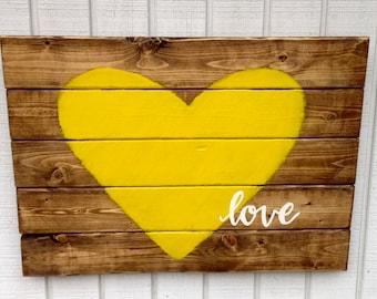 Yellow Heart Pallet Art - Reclaimed Wood Sign