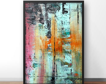 Abstract painting, Printable Abstract Art, Digital Downloads, Aqua colours, modern wall art, hand painted acrylic print, sea, marine colours