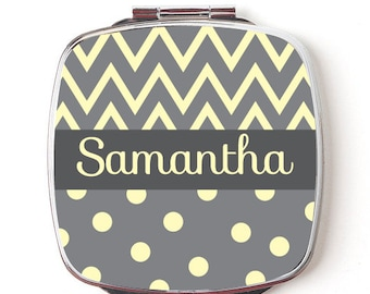 Custom Bridesmaids Gifts, Personalized Compact Mirror, Yellow Chevron and Polkadot Design, Wedding Party, Makeup Mirror