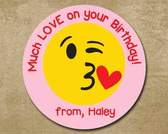 Love Emoji Birthday Sticker Personalized Gift Label Kids Favor Tags Treat Bag Stickers