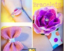 Children Kids Wrist Bracelet/Hair Tie - Peach Pink Grosgrain Stretch Band Beige Fold Over Elastic - Sum Bracelet
