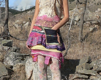 multicolored skirt in silk patchwork