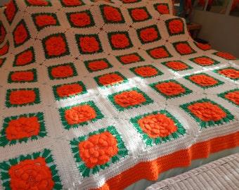 Crocheted Granny Square Afghan Handmade Afghan Blanket King Size Afghan Blanket Crochet 3D Rose Granny Square 96 x 94 White Orange Green