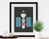 Satellite Outer Space NASA Art Print Poster, Illustration