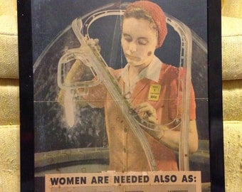 """Rare 1943 WWII Poster Titled """"The More Women at Work the Sooner we WIN!""""Free Shipping"""