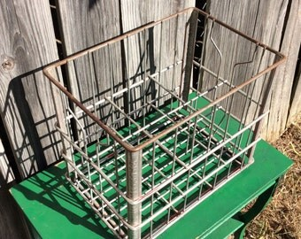 Mid Century Metal Milk Jug Crate Heavy Rustic Industrial 6 Bottle Milk Carrier Large Crate says BEATRICE TULSA, OK