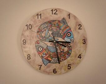 Fish clock, nurcery clock  vintage background animal clock, modern wall clock, handmade wood clock, gift for girl or boy, clock