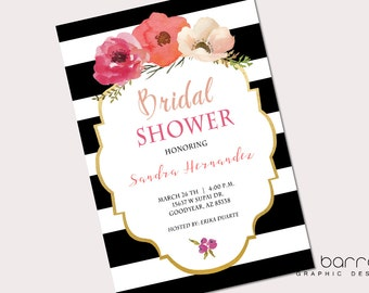 Stripe & Floral bridal shower Invitation
