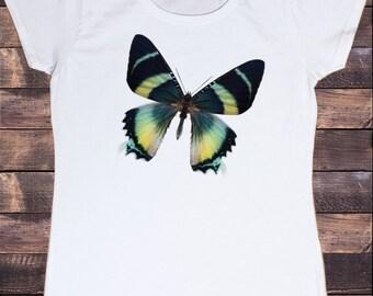 Women's White T-Shirt With Yellow Butterfly Fashion Print TSG4