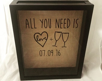 Wine Cork Shadow Box, Wine Cork Holder, Wedding Gift, Bridal Shower Gift, Burlap, Customize Date and/or Add Names!
