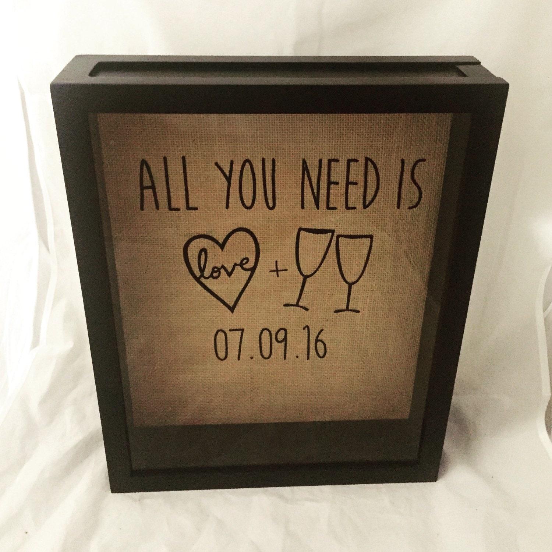 wine cork shadow box wine cork holder wedding gift bridal shower gift burlap customize date andor add names