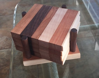 4 wood coasters with holder