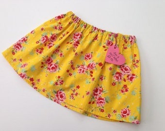 Floral print yellow girls skirt Age 3-4 100% cotton
