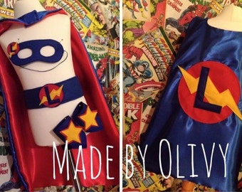 Personalised handmade superhero cape set WITH CUFFS, belt & mask with one initial on the back.