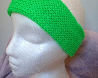 Earwarmer plus Headband-green-Knitted handmade-Britneyshandknits