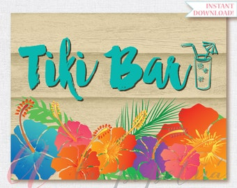 Tiki bar sign . Luau sign. Printable luau sign. Hawaiian printables. Luau party tiki bar. INSTANT DOWNLOAD