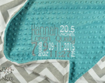 Personalized Baby Blanket, Camo Blanket, Minky Blanket, Personalized Birth Stat Blanket, Baby Blanket, Choose Your Colors, Choose Your Size