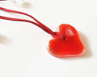 Heart Adjustable Red Pendant -  Red Heart Jewellery - Heart Jewelry - Non-metal Jewellery