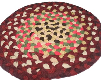 Vintage Round Braided Rug,Small Rug