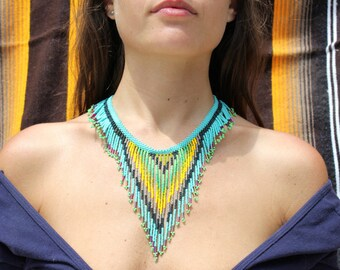 THE NATIVO NECKLACE [Colorful Hand-beaded Seed Bead Triangle Fringe Necklace]