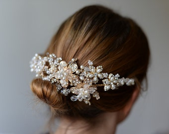 Bridal hair jewelry - vintage hair accessory beads flowers