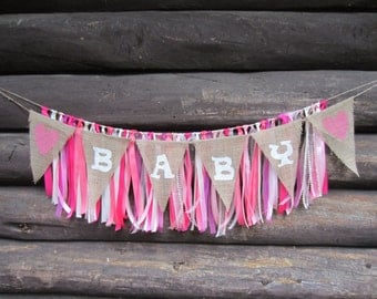 Pink Ribbon and burlap Banner, girl ribbon banner, girl burlap banner, pink ribbon garland, ribbon garland, baby girl banner, its a girl