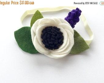 Felt amone headband with blackberry accent, flower headband, white, purple