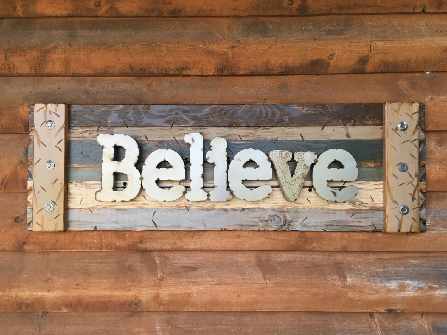 Navy Blue Metal Wall Art: BELIEVE Rustic Sign BROWN Reclaimed Shutter Distressed