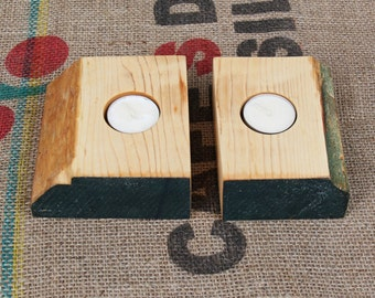 Pair of reclaimed wood tea light candle holders made from maple