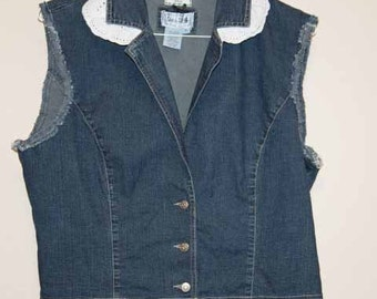 Ladies Lightweight Denim Vest with princess seams & white eyelet ruffles XL