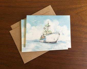 Boat Notecard Greeting Card Blank Note Card Bulk Cards Holiday Card Notecard Set Stationary Multi Language Gift Card Ship Logo Free