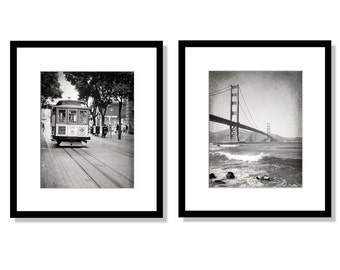 SALE, San Francisco Print Set, Black and White Photography, Golden Gate Bridge, Cable Car, California Wall Art, Set of 2 prints