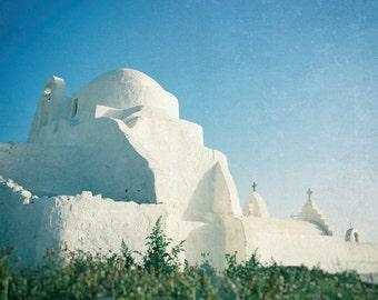 Greece Photography, Greek Islands, White Church, Mykonos, Mediterranean Decor, Turquoise Aqua Cobalt Blue White Wall Art, Travel Photo Print