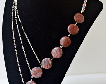 18 inch stone red asymmetrical statement necklace