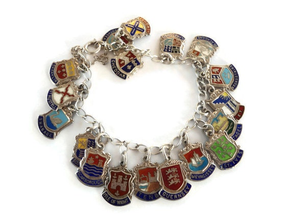 vintage travel charm bracelet sterling silver travel shield