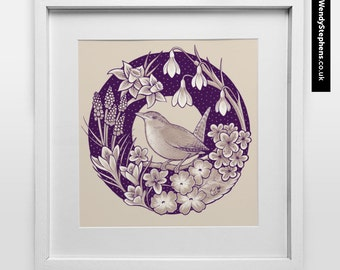 Little Wren // Illustrated Giclee Art Print // Wendy Stephens