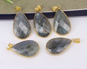 5-10pcs Drop Shape,Nature Labradorite Stone Druzy Pendant,Druzy Gemstone Labradorite Pendant For Jewelry Making