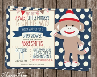 sock monkey baby shower baby shower invitation sock monkey shower