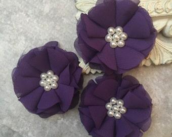 Purple flower, chiffon flower, pearl flower, fabric flower, headband flower, supply flower, ballerina flower