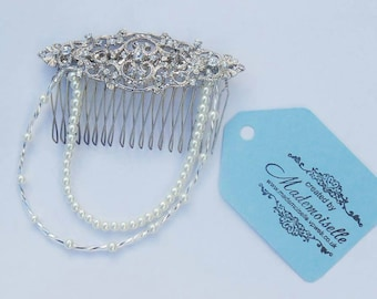 Bridal hair comb, barrett bridal comb, crystal swag comb, wedding hair barrett, small bridal comb, art deco hair comb, pearl vintage comb