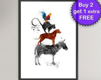 BREMEN Town MUSICIANS Watercolor Art Print Donkey Dog Cat Rooster Animal Ink Art Print Wall Art Poster Giclée Wall Decor Art Home
