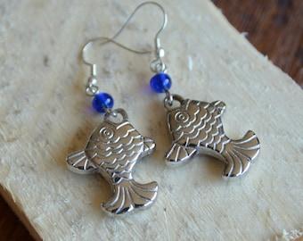 Beautiful Simple Classic Rajasthan Jaipur style Indian Fish shape beads drop earrings.