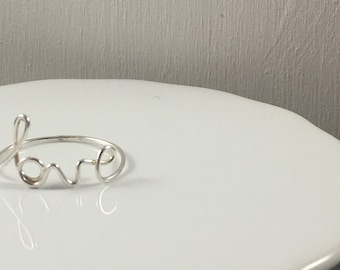 Wire Wrapped Love Ring Made with Argentium Silver Wire
