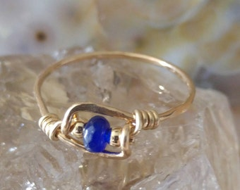 Natural Sapphire Ring - Handmade Wire Wrapped Ring - 14K Goldfilled Ring - Choose US Size 2-12