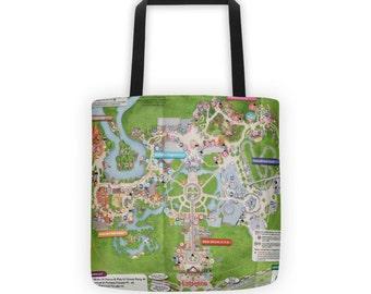 Magic Kingdom Map Disney Tote Bag - Grocery Gym Book Bag 000756