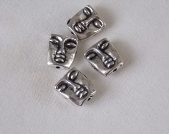 Face Beads Silver Face Beads